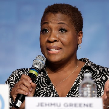 Image: Jehmu Greene of Texas, a candidate for Democratic National Committee Chairman, speaks during a DNC forum in Baltimore