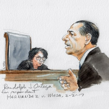 Image: Attorney Randolph J. Ortega address the Supreme Court in Hernandez v. Mesa