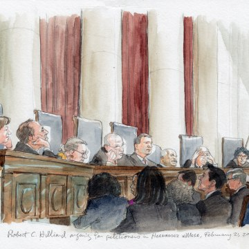 Image: Attorney Robert C. Hilliard addresses the Supreme Court in Hernandez v. Mesa