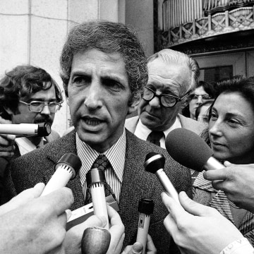 Image: Daniel Ellsberg, co-defendant in the Pentagon Papers case, talks to media outside the Federal Building in Los Angeles in April 28, 1973.