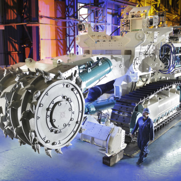 Image: One of the three robots Nautilus minerals will use for mining. The bulk cutter is one of the machines that will chop up rock.