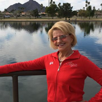 Image: Olympic gold medal gymnast Olga Korbut, of Russia, poses in in Scottsdale, Arizona on Feb. 14, 2017