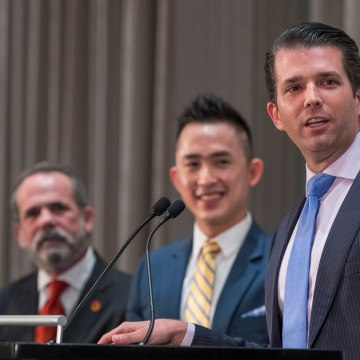 Image: Donald Trump Jr. during the grand opening of the Trump International Hotel and Tower in Vancouver