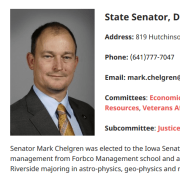 Image: Iowa Senator Mark Chelgren's biography on his Iowa Senate Republicans page