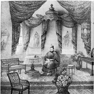 "A sketch of Afong Moy in her ""room"" inside a New York City exhibition hall."
