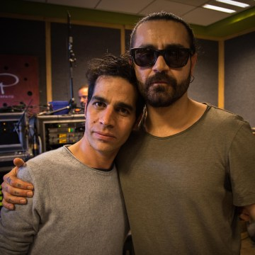 Image: Aviv Geffen and Shahin Najafi at their rehearsal session in a studio in Tel Aviv