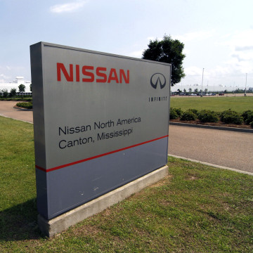 Image: This sign photographed April 20, 2011, proclaims the location of the  Nissan auto manufacturing facility in Canton, Mississippi.