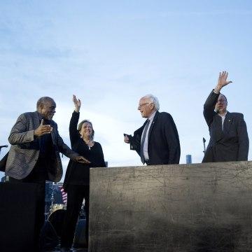 Image: Actor Danny Glover greets Senator Bernie Sanders
