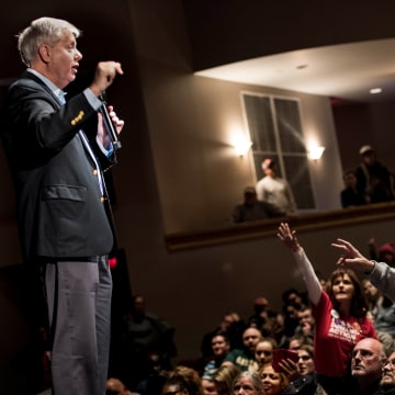 Image: Sen. Lindsey Graham (R-SC) addresses the crowd during a town hall meeting March 4, 2017 in Clemson, South Carolina.