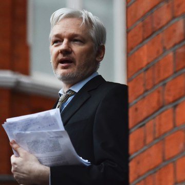 Image: WikiLeaks founder Julian Assange addressing the media from the balcony of the Ecuadorian Embassy in central London on Feb. 5, 2016.