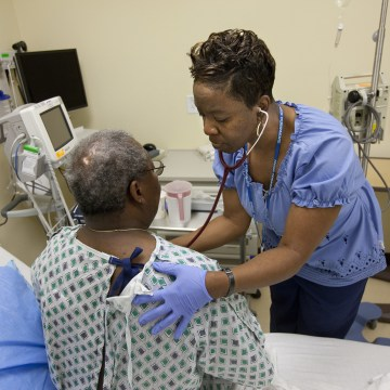 Image: A patient is monitored in an examination room inside the Clinical Decision Unit (CDU) at Kaiser Permanente's Capitol Hill Medical Center in Washington, DC.