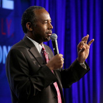 Image: Ben Carson speaks to employees of the Housing and Urban Development agency