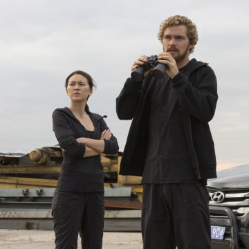 """Jessica Henwick, Finn Jones, and Rosario Dawson in a production still from """"Marvel's Iron Fist,"""" which is scheduled to debut on Netflix on March 17."""