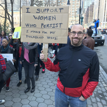 Blaine Benson at 'A Day Without a Woman' rally in NYC.