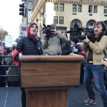 Linda Sarsour speaks at 'A Day Without a Woman' rally in NYC