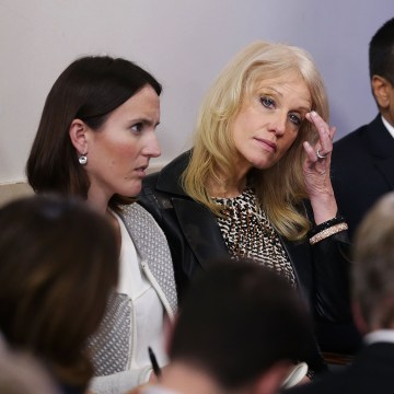 Image: Kellyanne Conway listens during the daily White House press briefing