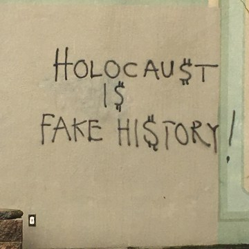 Image: Holocaust denying graffiti was spray-painted on one of Seattle's largest synagogues, Temple De Hirsch Sinai Friday morning.