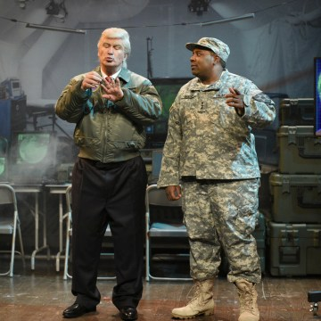 Image: Alec Baldwin dressed as President Donald Trump, alongside Kenan Thompson in sketch for Saturday Night Live, March 11, 2017.