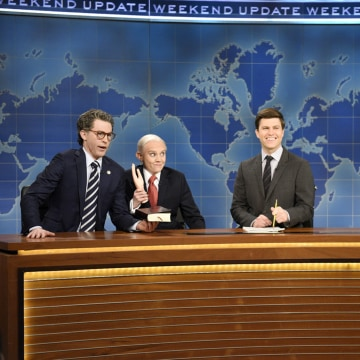 Image: Kate McKinnon as Attorney General Jeff Sessions, alongside Alex Moffat as Senator Al Franken (D-MN), Colin Jost and Michael Che for Weekend Update on Saturday Night Live, March 11, 2017.