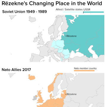Image: Map of Rezekne in the Soviet Union and then NATO