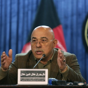 Image: Gen. Helaludin Helal, deputy defense minister speaks during a news conference in Kabul