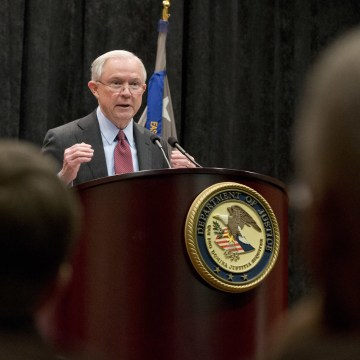 Image: Sessions gestures during a speech before law enforcement officers in Richmond, Va.