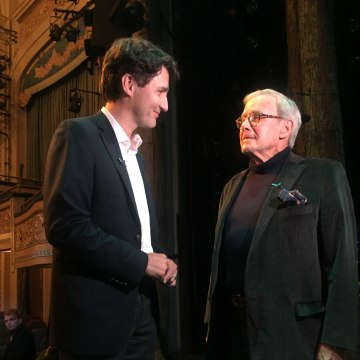 Image: Justin Trudeau speaking to Tom Brokaw