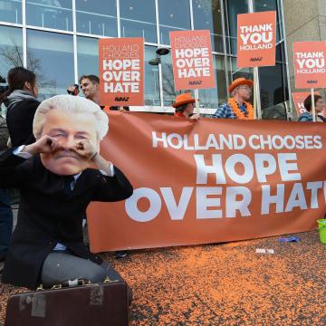 Image: Anti-Geert Wilders campaigners