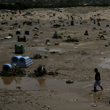 Image: View of a damaged cemetary after rainfall and flood in Trujillo, northern Peru