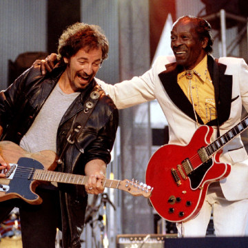 """Image: FILE PHOTO Bruce Springsteen and Chuck Berry perform """"Johnny B. Good"""" to open The Concert for the Rock & Roll Hall of Fame"""