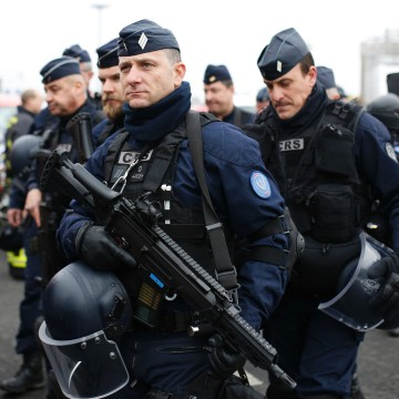 Image: French policemen secure the area