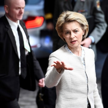 Image: German Defence Minister Ursula von der Leyen arrives to attend a foreign affair council at the European Council, in Brussels, on March 6, 2017.