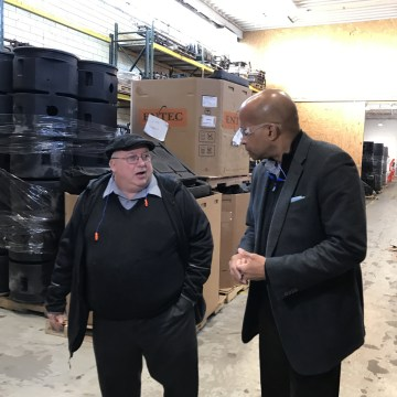 Image: Ron Allen interviews Marty Learn, the secondary manager at Sterling Technologies, at the company's warehouse in Erie, Pennsylvania.