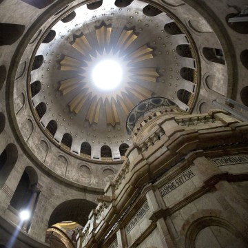 Image: The renovated Edicule is seen in the Church of the Holy Sepulchre