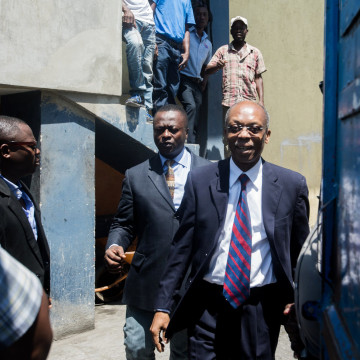 Image: Former Haitian President Jean-Bertrand Aristide makes a rare public appearance