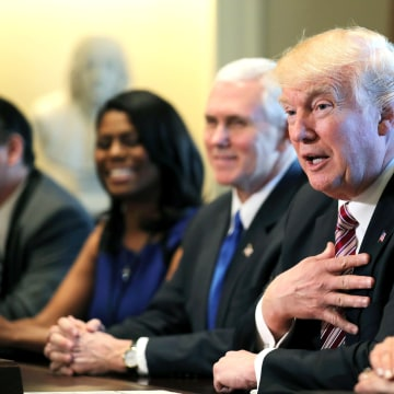 Image: Trump attends a meeting with the Congressional Black Caucus Executive Committee at the White House in Washington