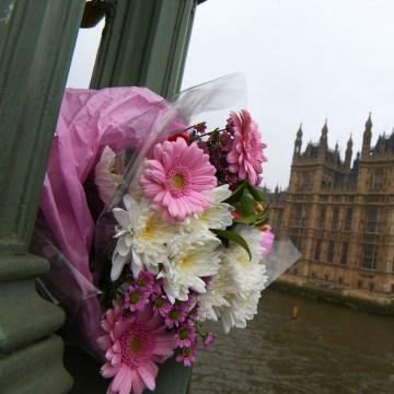 Image: Flowers on London's Westminster Bridge