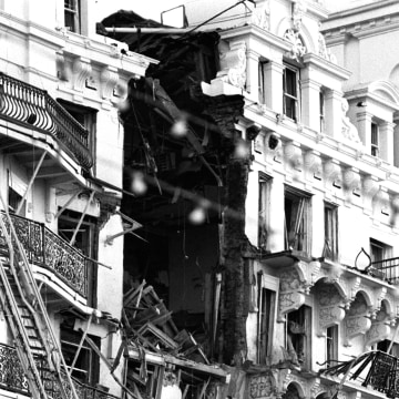 Image: The shattered top four floors of the Grand Hotel in Brighton