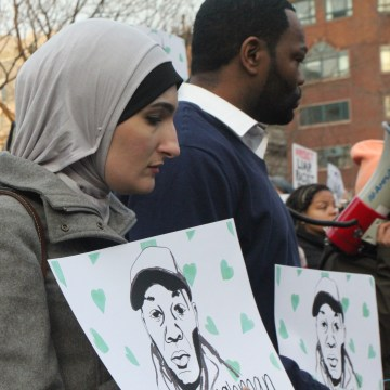 Linda Sarsour at March 24, 2017, NYC Resists Hate Crimes march.