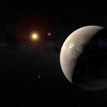 Image: The planet Proxima b orbiting the red dwarf star Proxima Centauri, the closest star to our Solar System, is seen in an undated artist's impression