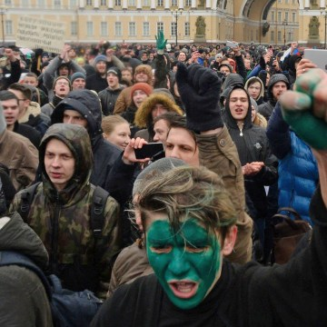 Image: Protest in St. Petersburg, Russia