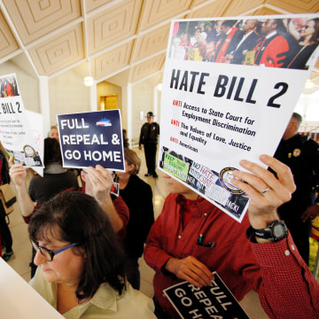 Image: FILE PHOTO - Opponents of North Carolina's HB2 law limiting bathroom access for transgender people protest as the legislature considers repealing the controversial law in Raleigh
