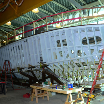 Image: Hull ribs surround PT-305's bow and crew's quarters.