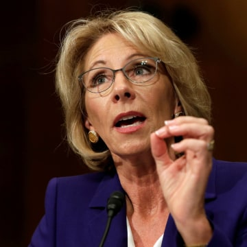 Image: Betsy DeVos testifies before the Senate Health, Education and Labor Committee confirmation hearing to be next Secretary of Education on Capitol Hill in Washington, D.C. on Jan. 17.
