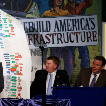 Image: President Donald Trump holds up a chart showing the complexity of regulations as he speaks at the 2017 North America?EUR(TM)s Building Trades Unions National Legislative Conference in Washington