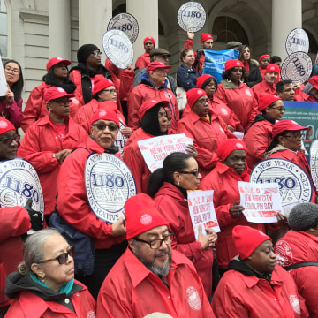 CWA Local 1180 members rally at NYC City Hall for Equal Pay Day