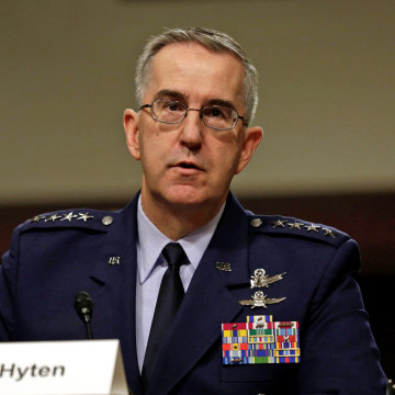 Image: U.S. Air Force General John Hyten, Commander of U.S. Strategic Command, testifies in a Senate Armed Services Committee hearing on Capitol Hill in Washington