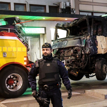 Image: A truck that crashed into the Ahlens department store in central Stockholm