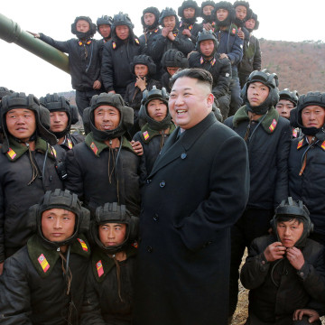 Image: North Korean Leader Kim Jong Un guides the Korean People's Army Tank Crews' Competition 2017
