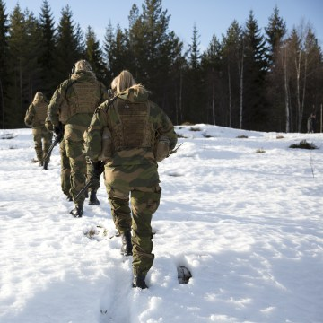 Image: Female soldiers march on the snow-covered hillside after a military training exercise at the Terningmoen Camp in Elverum, Norway